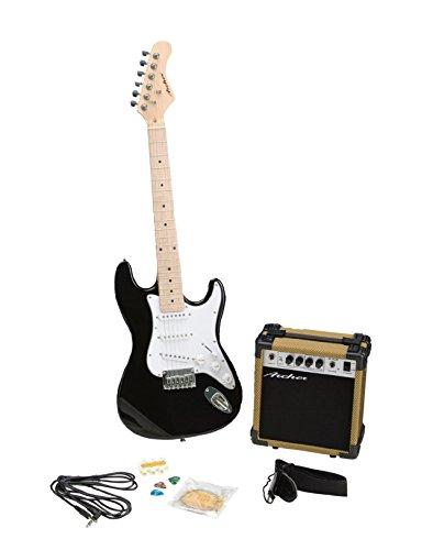 Archer SS10JRPAKBK Blues and Rock Junior Electric Guitar Package, Black