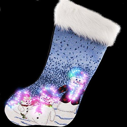 "Arelux Novelty LED Christmas Stockings Snowman Family 19"" Xmas Tree Decoration Lit Socks Xmas Party Glow Stocking"