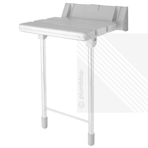 Arian EcoSpaⓇ Comfort Plus Bathroom Mobility Aid | Wall Mounted Folding Shower Seat Stool in White | Max. 180kgs/28st