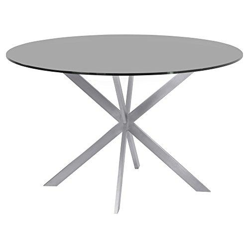 Armen Living Table, Stainless Steel Gray, Dining Height