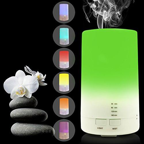 Aroma Diffuser USB Car Travel Aromatherapy Diffuser 2.3 oz (70ml) Scent Essential Oil Diffuser Mini Portable Ultrasonic Humidifier Cool Mist Vaporizer Air Freshener - 7 Color LED Lights and Timer