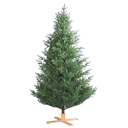 Artplants Artificial Christmas tree SEVILLA, green, 7ft/210cm, Ø4ft/135cm - Artificial fir tree/Fake Xmas tree