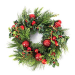 "Artplants - Artificial Christmas Wreath - Advent Wreath, green-red, Ø 22"" / 55 cm - Plastic wreath/Christmas decoration"