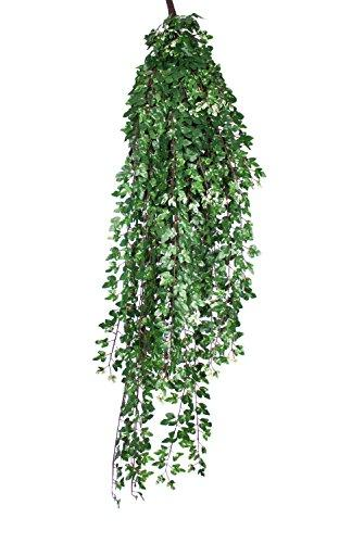 artplants - Decorative Vine bush trailing plant with 1,435 leaves, white - green, DELUXE, 5 ft / 160 cm - Fake vine / Plastic foliage
