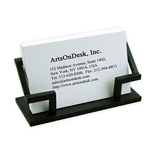 ArtsOnDesk Modern Art Business Card Holder Bk301 Steel Black Patented Luxury High-end Desk Accessory Name Plate Display Stand Case Office Organizer Christmas Gift Holiday Present