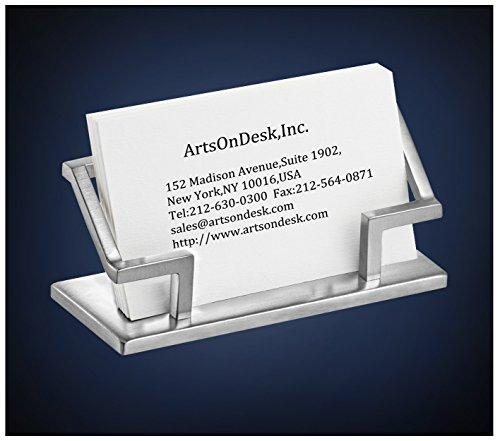 ArtsOnDesk Modern Art Business Card Holder St201 Stainless Steel Satin Finish Patented Desk Desktop Accessory Name Plate Display Stand Case Office Organizer Christmas Gift Holiday Present