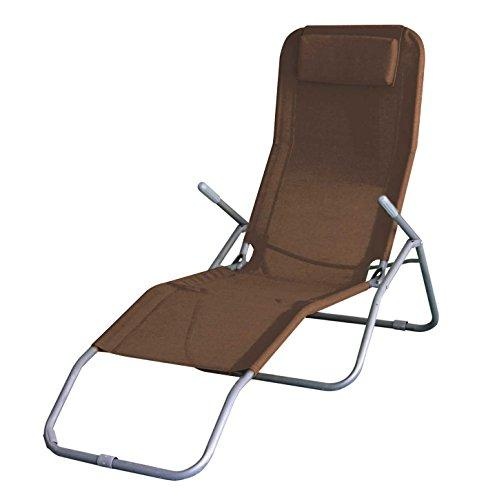ASAB Folding Sun Lounger Recliner Chair Bed Armrest Weather Resistant Water Proof Indoor Outdoor Garden Patio Deck Beach Furniture - BROWN