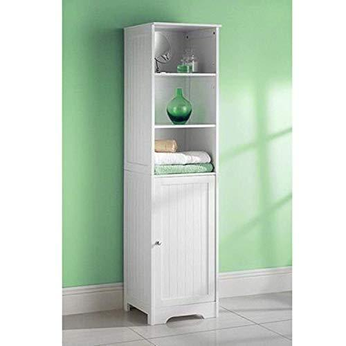 ASAB Tall Boy Cabinet White Wooden Bathroom Cabinet Storage Unit Mirror Door Wall Mounted Free Standing Cupboards Drawers Tallboy Home Furniture