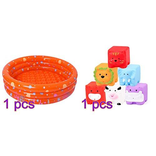 Asdomo Inflatable Paddling Pool - with 6Pcs Animals Bath Toys - Swimming Bathing Pool Bathtub Three Ring Pool Ocean Ball Pit Bathing Tubs Portable Shower Basin for Baby Infant Toddler (for 0-3 Years)