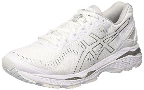 Asics Gel Kayano 23 White Snow Silver Mens Athletic Running Shoes