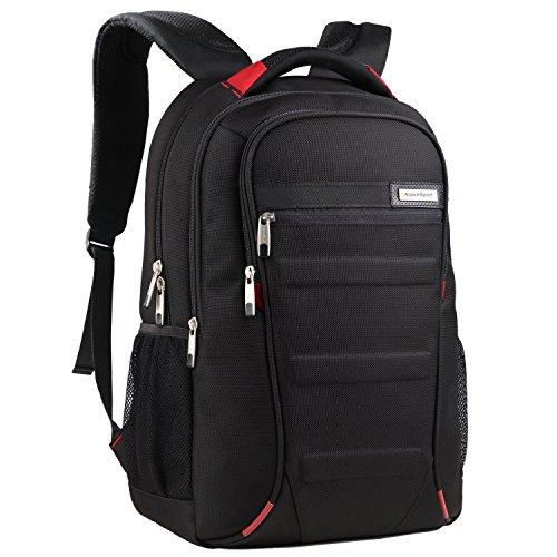 Aspen Water-repellent Business Travel Laptop Backpack rucksack 13 15.6 inch Lightweight Computer School Bag Hiking Trekking Casual Daypack for Men and Women ( Black-Red )