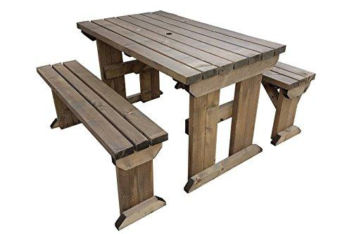 ASPEN WOODEN PICNIC TABLE BENCH SEAT SET FT TO FT RUSTIC BROWN - Pressure treated wood picnic table