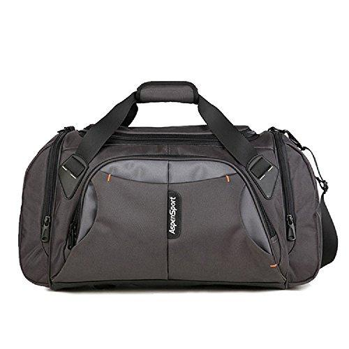 ASPENSPORT Large Duffle Sports Bag Travel Luggage Tole Bag shoulder Boarding Bag Gym Bag PU carry on luggage AS11K10GREY22