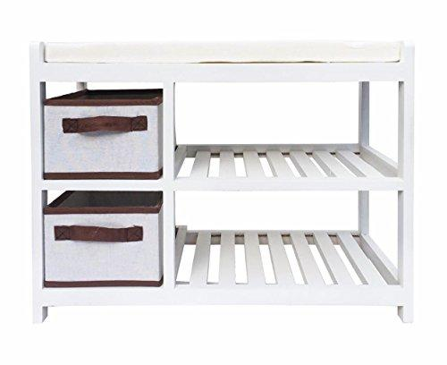Assembled White Shabby Chic Kids Bedroom Hallway Padded Seat Stool Bench Shoe Rack Storage Unit Cabinet