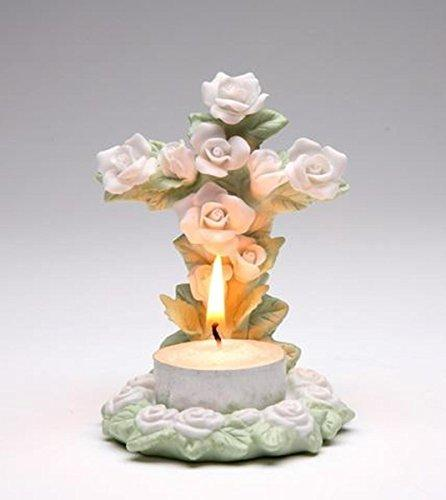 "ATD 4"" Tealight Candle with Rose Flower Shaped Cross"