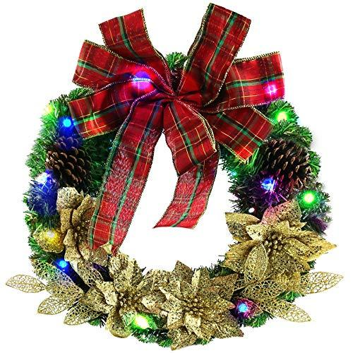 Athoinsu Christmas Decorative Wreaths Battery Operated with Pine Cones Bowknots Golden Flowers PVC Home Decoration for Holiday Party Door Wall Indoor Outdoor Artificial Ornaments, 16 Inch(Style 2)