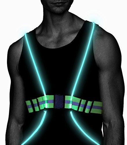 Atlecko LED Running Vest & Belt, High Visibility with Reflective Belt for Safety, Running and Cycling