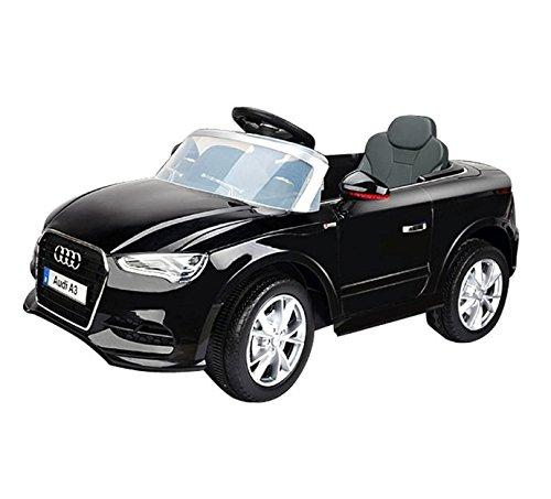 Audi A3 12v Ride On Car - Officially Licensed - Working Front And Rear Lights - Parental Remote Control Included (Black)