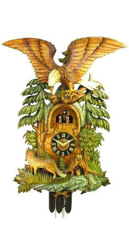 August Schwer Cuckoo Clock Fox, Eagle with handcarved wooden weights
