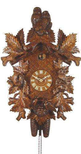 August Schwer Cuckoo Clock Owls, birds with nest, fern leaves