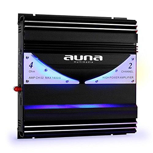 auna AMP-CH02 HiFi 2-Channel Car Amplifier Indirect Blue LED Light Effect High Performance (1400W, High and Low Level Inputs, Adjustable Low-Pass Filter) Black