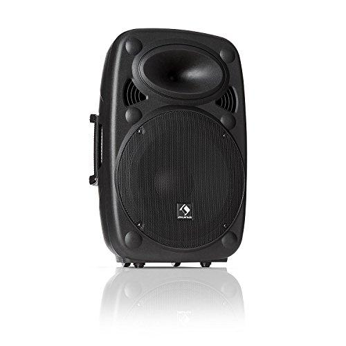 "auna SLK-15-A • Active PA speaker • Mobile PA system • Floor monitor • 15 ""(38 cm) • 800 W max • XMR Bass Technology • Bluetooth • USB • SD • MP3 • Line In / Out • Flange connection • black"