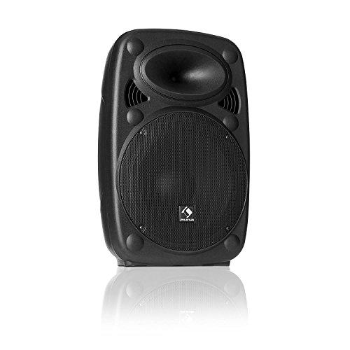 "auna SLK-8-A • Active PA speaker • Mobile PA system • Floor monitor • 8 ""(20 cm) • 300 W max • XMR Bass Technology • Bluetooth • USB • SD • MP3 • Line In / Out • Flange connection • black"