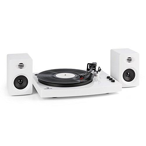 auna TT-Play • Turntable including 2 Stereo Speakers • Record Player • Turntable Set • Belt Drive • Exchangeable Ceramic Pickup • Tone Arm • Pitch Control • 33 1/3 and 45 RPM • BT 4.2 • RCA • White