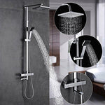 Auralum Thermostatic Mixing Shower System adjustable 82-140CM Polished Chrome Shower Sets Bathroom Washroom Basin Mixer Waterfall Rainfall Incl. Hand shower, Top shower and wash tap