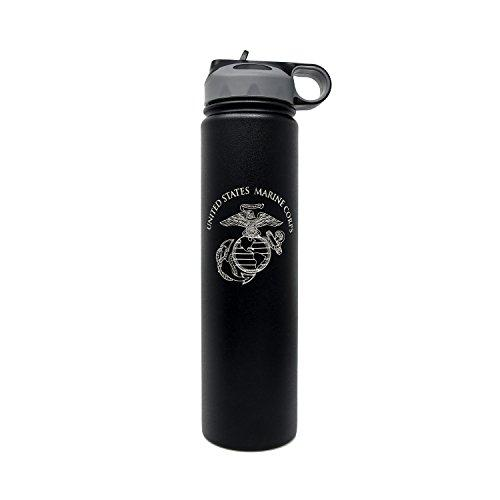 Authentic United States Marine Corps 24 oz Double Wall Vacuum Insulated Stainless Steel Sports Water Bottle with a Wide Mouth Straw Lid
