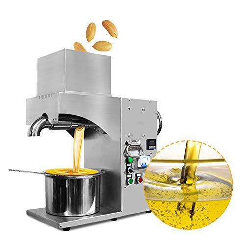 Automatic Oil Press Machine Commercial/Household Cold Hot Oil Expeller Machine 220V Electric 304 Stainless Steel Oil Expeller Oil Extractor Machine Equipment for Peanut Nuts Seeds