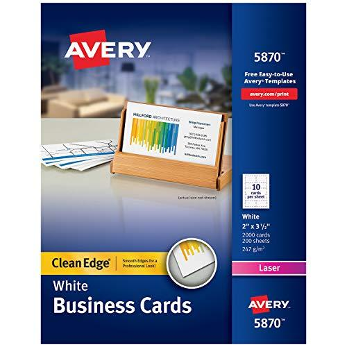 Avery Printable Business Cards, Laser Printers, 2,000 Cards, 2 x 3.5, Clean Edge (5870)