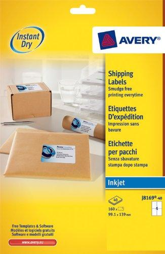 Avery Self Adhesive Shipping Labels, Inkjet Printers, 4 labels per A4 sheet, 160 labels, QuickDRY (J8169)