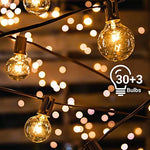 Avoalre Outdoor Fairy Lights G40 Globe String Lights 33ft/10m 30 Incandescent Bulbs IP65 Waterproof Plug-In Rope Lights for Indoor Outdoor Decoration Backyard Garden Patio Bedroom Christmas Parties
