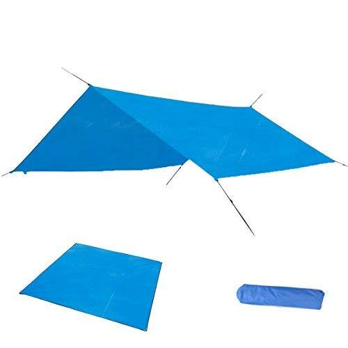 Azarxis Camping Tarp Tarpaulin Awning Groundsheet Tent Footprint Hammock Ground Sheet Canopy Sun Rain Fly Shelter Shade Blanket Mat Waterproof Heavy Duty (Blue+Accessories, 84.6 x 84.6 inches)