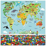 azutura Animal World Map Wall Mural Childrens Photo Wallpaper Kids Bedroom Home Decor available in 8 Sizes XX-Large Digital