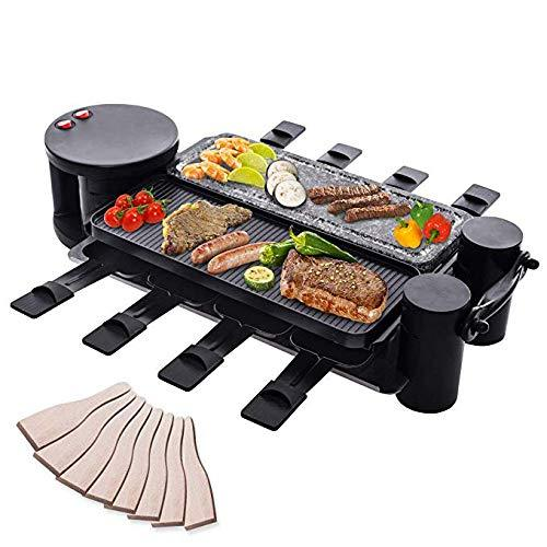 B-zweb Large Adjustable Swivel Raclette Grill Stone&Non-Stick Plate BBQ Grills Indoor Grills Party Grills