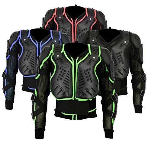 BA-002 | Motocross Motorbike Motorcyle Protection Jacket Body Armour Mountain Cycling Riding Skating Snowboarding Track Crash Guard CE Approved (Green, XXXX-Large Chest 48)