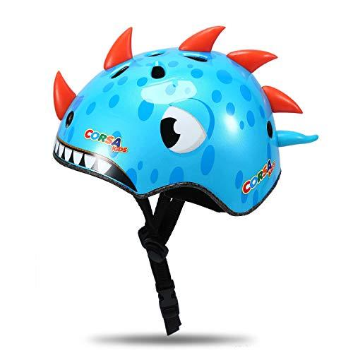 Babimax Kids Childs Childrens Urban Skate Helmet Ideal For Skateboard Bike BMX and Stunt Scooter (Blue Dinosaur)