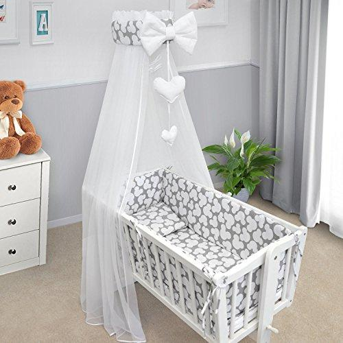 BABY BEDDING SET CRIB CRADLE 10 Pieces PILLOW DUVET COVER BUMPER CANOPY to fit Crib 90x40cm 100% COTTON (Mouse grey)