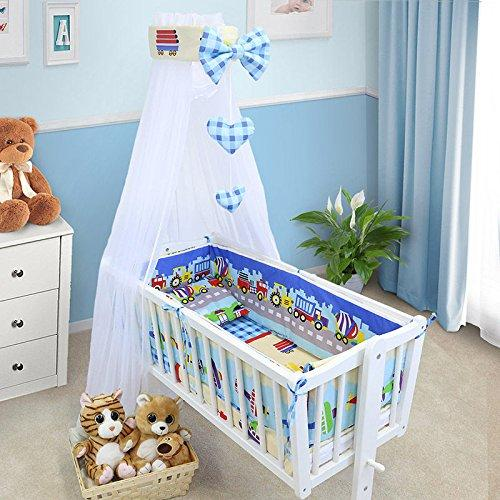 BABY BEDDING SET CRIB CRADLE 10 Pieces PILLOW DUVET COVER BUMPER CANOPY to fit Crib 90x40cm 100% COTTON (Trucks)