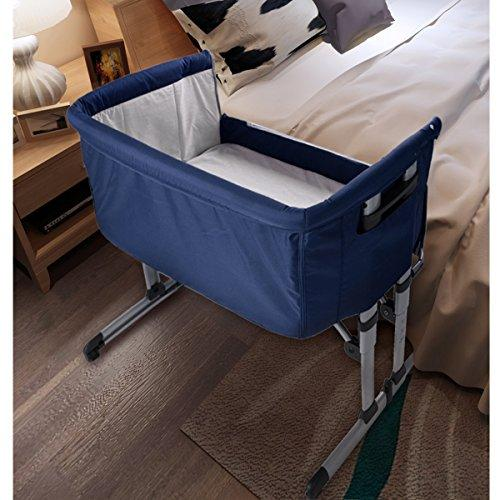 Baby Bedside Crib Co Sleeping Cot Bed Travel Cot Baby Bed Bassinet Folding Cot Adjustable Co-Sleepers with Matress and Mosquito Net (Dark Blue)
