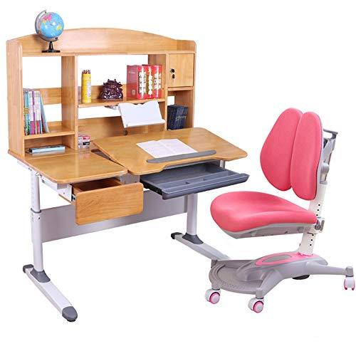 Baby Booster Seat Childrens Study Desk Chair Table Set Tiltable Table And Chair For Kids Art Wooden Table Set Work Station Height Adjustable Dinning Chair Girl Boy (Color : Pink)