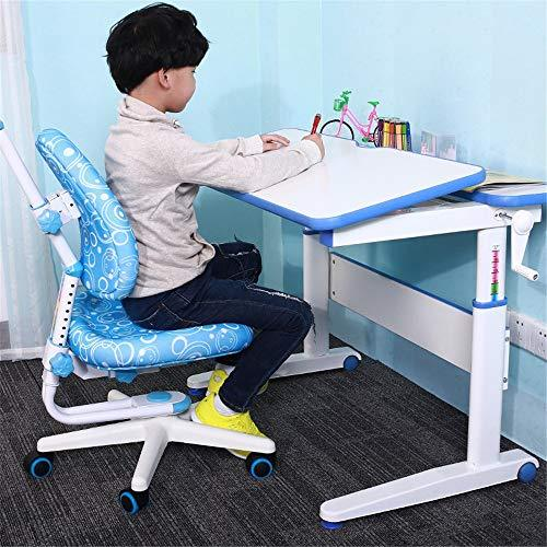 Baby Booster Seat Desk Chair Set Multi-functional Desk And Chair Se Childen Kids Study Table School Student Desk Book Stand Height Adjustable Dinning Chair Girl Boy (Color : Blue)