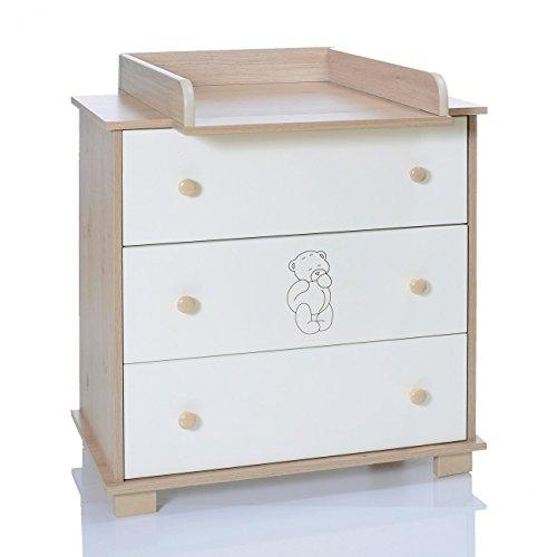 Baby Changing Chest Bear - Nursery Furniture Changer Unit With 3 Drawers - Baby Changing Table removeable