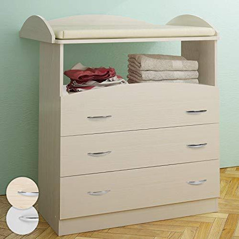 Baby Changing Table Unit 3 Drawers Chest Storage Nursery Furniture 85 x 71 x 96 cm (Beech)