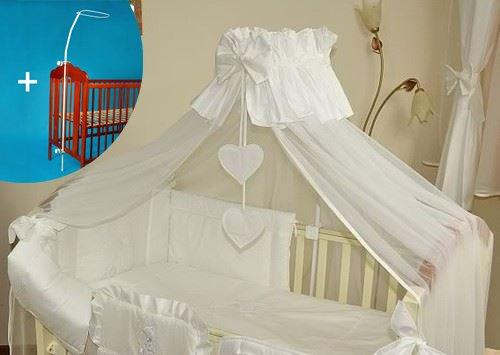 Baby Crown Canopy/Drape/Mosquito Net Large 485 cm + Universal Clamp Holder For Cot Bed - HEARTS WHITE PLAIN