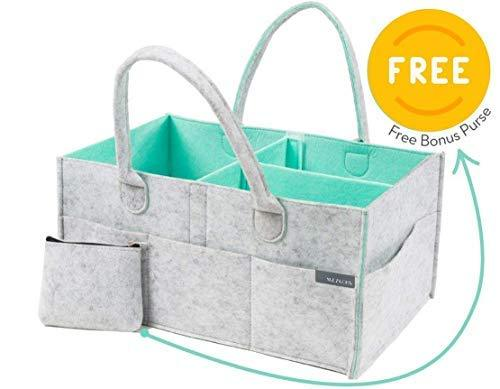 Baby Nappy Caddy Organiser Plus Free Purse - Nursery Storage Bin | Baby Shower Gift Basket, Newborn Registry, Nursery Organiser Basket for Boy Girl, Large Travel Car Organiser