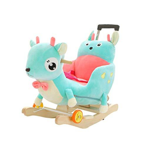 Baby rocking chair Swings & Chair Bouncers Solid wood rocking horse early education toy children's music Trojan rocking chair with pulley multi-kinetic rocking horse