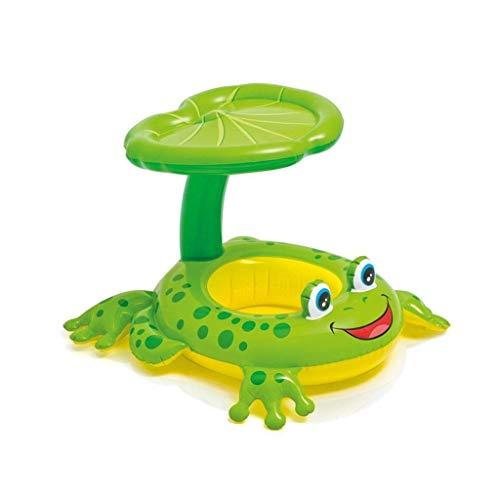 Baby Swimming Float With Inflatable Sunshade Canopy, Swimming Pool Float Toy,Green